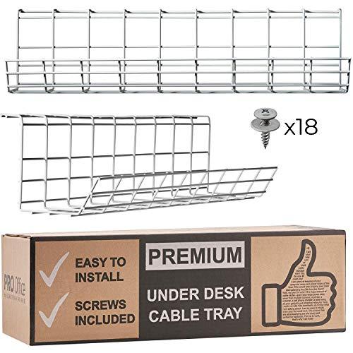 Scandinavian Hub Bandeja Organizadora Cables para Debajo de la Mesa o Escritorio – Organiza sin Nudos los Cables de tu Ordenador (Blanco - Set de 2X 43cm)