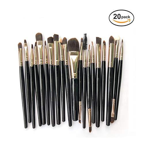20 pièces Pinceaux de maquillage, Brosse de Maquillage Professionnel synthétique Fusion de fond de teint Concealer Eye visage liquide Poudre crème Cosmétique Pinceaux kit