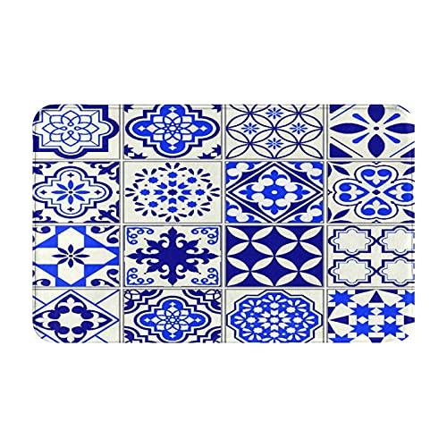 GKGYGZL Alfombras de baño,alfombras de baño,Azulejos de diseño de Mosaico Floral mediterráneo,Alfombras Antideslizantes Alfombras de baño Extra Suaves