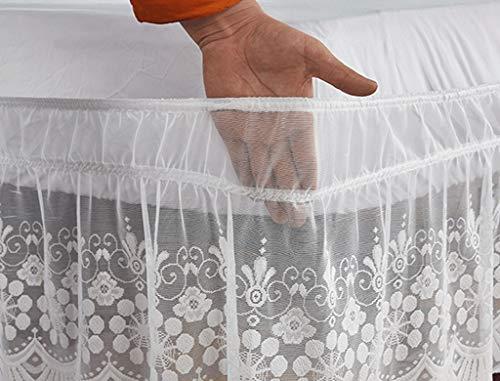 Falda de Cama 150x200/180x200/135x190 con Volante Elastico, de fácil Cuidado, Lavable a máquina, Volantes de 38 cm (Color : White, Size : 135 * 200+38cm)