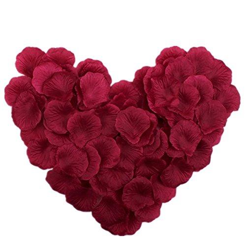 Vivianbuy 1000 PCS Artificial Silk Flower Burgundy Rose Petals for Wedding Party Bridal Decoration
