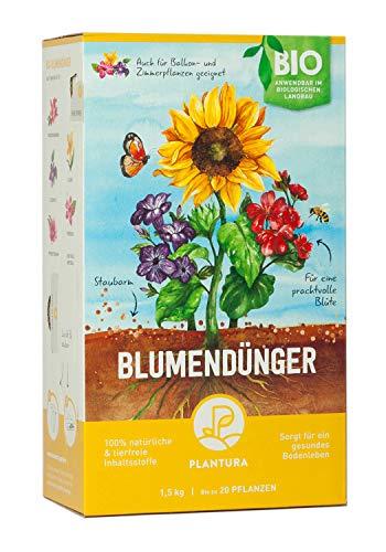 Plantura Bio Blumendünger mit 3 Monaten Langzeitwirkung, 1,5 kg, für den Garten & Balkon-Pflanzen, für eine prächtige Blüte, gut für den Boden, unbedenklich für Haus- & Gartentiere