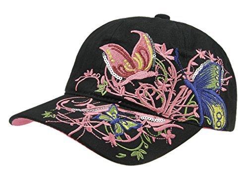 YJZQ Casquette brodée Papillon pour Fille Chapeau Anti-UV Casquette de Baseball en Coton Cap Visière Réglable Large Bord Bonnet Loisir Camping Randonné pour Sport Voyage Montagne