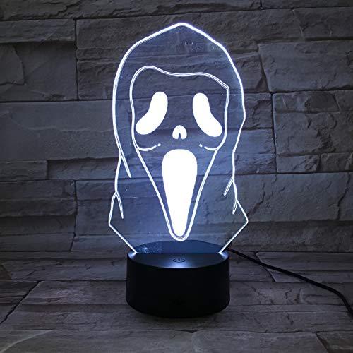 Lampara LED Scary Movie Máscara Scream Cambia Color USB Luz nocturna y decoración