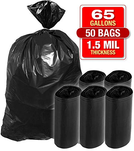 """X-Large 65 Gallon Black Trash Bags - 50 Pack Heavy Duty Bags for Garbage, Storage - 1.5 Mil Thick, 50""""Wx48""""H Industrial Grade Trash Bags for Construction, Yard Work, Commercial Use - by Tougher Goods"""