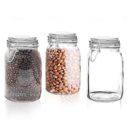 Set of 3 Glass Mason Jar with Airtight Lid 50 Ounces | Glass Storage Container for Food, Flour, Pasta, Coffee, Candy, Dog Treats, Snacks