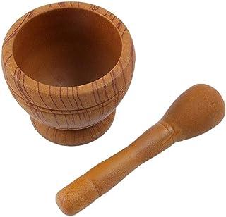 Mortar Pestle, Wooden Chopped Garlic Press Mixer Crusher, Grinder Bowl Raft Manual Smasher,
