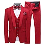 MOGU Mens New Casual Slim Fit Skinny Dress Suits 3 Piece US Size 32 (Label Size Jacket 48, Pants 29) Red