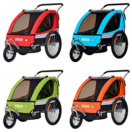 Tiggo Kinderanhänger 2 in 1 Fahrradanhänger Anhänger Buggy/Jogger Set BT504 (Blau)