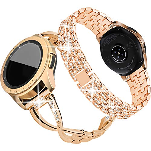 Supoix Compatible for Samsung Galaxy 3 41mm/Galaxy Watch 42mm/Galaxy Active 2 Watch Band 40mm 44mm, 2 Pack 20mm Women Jewelry Bling Metal Replacement Strap (Rose gold)