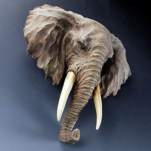 JLive Escultura de la decoración de la Pared 3D, simulación Creativa Resina Elefante Cabeza artesanía artesanía Colgante de Pared Moderno Bar Restaurante Sala de Pared Decoraciones de Animales
