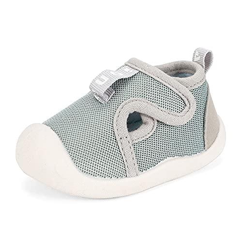 LACOFIA Scarpe Primi Passi per Neonato Sneakers Traspiranti Antiscivolo Bimbo Scarpine Ginnastica per Bambino Grigio 19