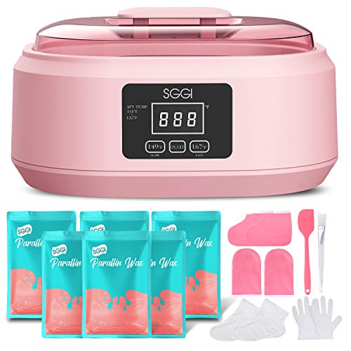 SGGI Paraffin Wax Machine Touchscreen 3000ML,6 Packs of Wax 2.6lb for Hand and Feet, Moisturizing Paraffin Spa Wax Bath Kit,Large Capacity at Home for Smooth and Soft Skin,Gift for women-Peach