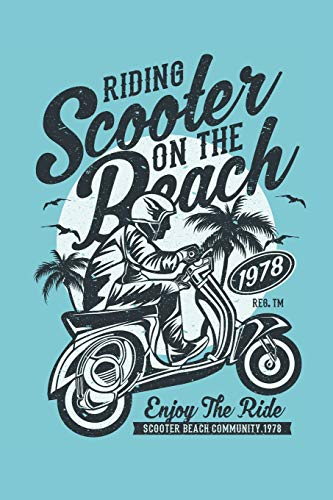 Scooter at the Beach Notebook: 6x9inch blank DotGrid Notebook Riding Scooter at the Beach