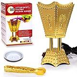 AM Bakhoor Electric Incense Burner - Oud Frankincense Resin Burner 6.5 Inches Tall (Hexagon) (Gold)