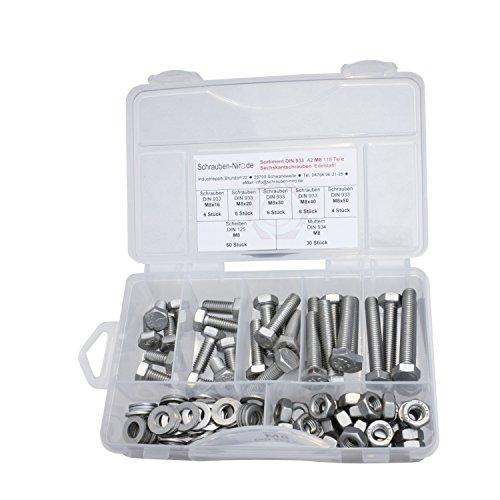 Sortiment Edelstahl V2A Schrauben DIN 933, Muttern sechskant DIN 934 und Scheiben DIN 125, Sechskantschrauben mit Gewinde bis Kopf M8 alles in A2, VA bzw. Nirosta, 118 Teile
