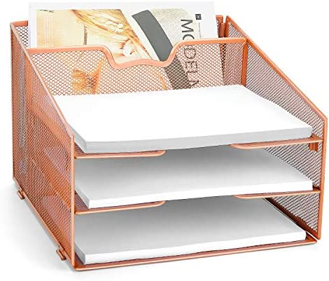 Reliatronic Rose Gold Letter Tray Mesh Desk Organizer with 3 Tier Paper Trays and 1 Vertical product image