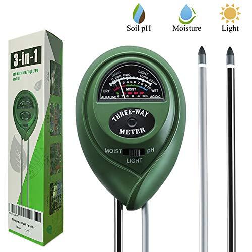 Dooppa Bodentester, 3-in-1 Bodenfeuchtigkeitsmessgerät, Licht- und pH-Wertsäure-Tester, Pflanzenboden-Tester, Kit für Garten, Bauernhof, Rasen, Innen- und Außenbereich