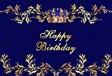 Baocicco 7x5ft Happy Birthday Backdrop Royal Crown Floral Decor Royal Blue Background Photo Backdrop Boys Girls Birthday Party Quinceanera Prince Princess Portrait Studio Video Prop