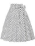 Belle Poque Plus Size White Polka Dots Skirt Tea Party Pin Up Retro Skirt