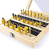 KOWOOD 24X Router Bits Set 1/4 Inch Shank Made of 45# Carbon Steel YG6x Alloy Blade for Professional Woodworking