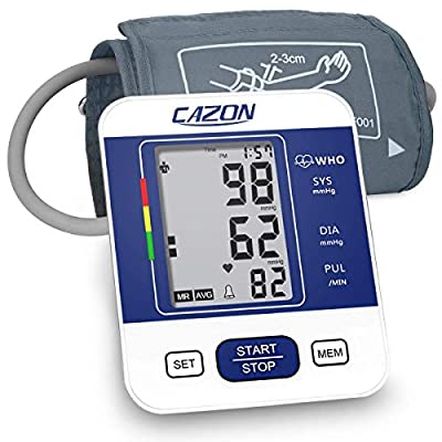 CAZON Blood Pressure Monitor Upper Arm BP Machine for Home Use BP Cuff Kit Pulse Rate Detection Meter with Cuff 22-32cm 2×99 Sets Memory LCD Display