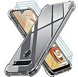 ivoler Klar Hülle für LG K41S mit 3 Stück Panzerglas Schutzfolie, Dünne Weiche TPU Silikon Transparent Stoßfest Schutzhülle Durchsichtige Kratzfest Handyhülle Hülle