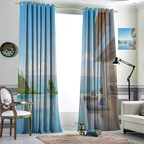 White Thermal Insulated Blackout Curtains Blackout Draperies for Baby Bedroom 84x84 inch Modern Minimalist Design Beach Summer House with Ocean Print White Sky Blue and Pale Brown