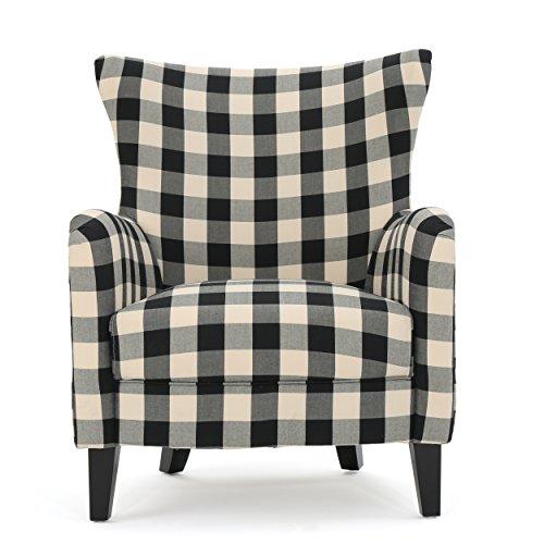 Christopher Knight Home Arador Fabric Club Chair, Black / White Plaid