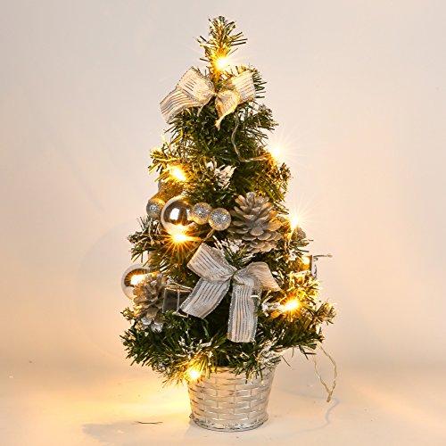 Lucoss Mini Sapin de Noel Artificiel, Petit Arbre de Noël avec des lumières LED, Mini Desktop Arbre Décoration pour Bureau Commercial Bar 40CM