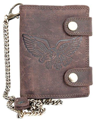 Billetera marrón Estilo Motero de Cuero con Cadena de Metal con águila