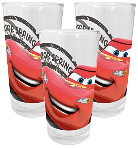Disney Cars - Juego de 3 vasos de cristal, 200 ml, multicolor,...