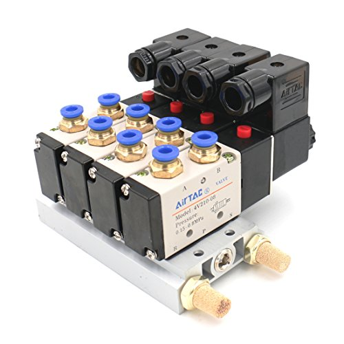 Baomain Solenoid Valve 4V210-08 AC 110V PT1/4 2 Position 5 Way 4 Pneumatic with Manifold Base