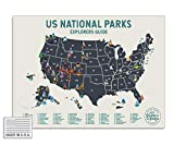 """Epic Adventure Maps USA National Park Scratch Off Map (24"""" x 17"""") - Interactive Travel Map - Scratch-Off Poster Reveals Images of All 62 US National Parks - Travelers Gift - Traveler Wall Decor"""