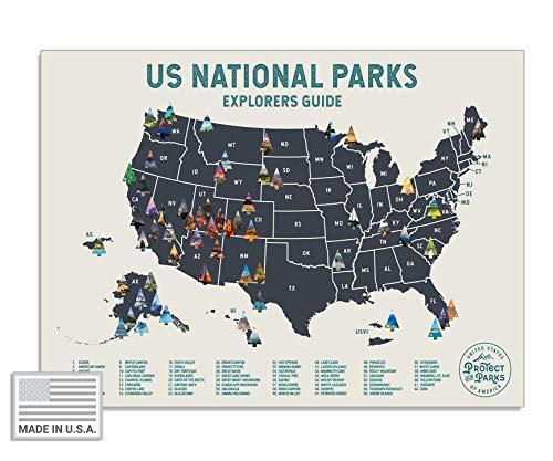 "USA National Park Scratch Off Map (24"" x 17"") - Interactive Travel Map - Scratch-Off Poster..."