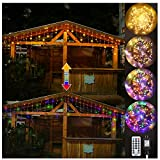 Ollny LED Icicle Lights 306 LED 24.6ft, Outdoor Christmas Curtain Fairy String Lights with Remote 11 Modes Plug in Warm White & Colors Changing for Backdrops Wedding Indoor Halloween Decorations