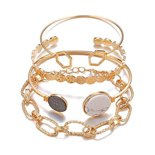 No/Brand Shine SHUNA 4Pcs/Set Feather Bracelet Sets for Women Multiple Stackable Wrap Bangle Adjustable Golden Layered Bracelet Set