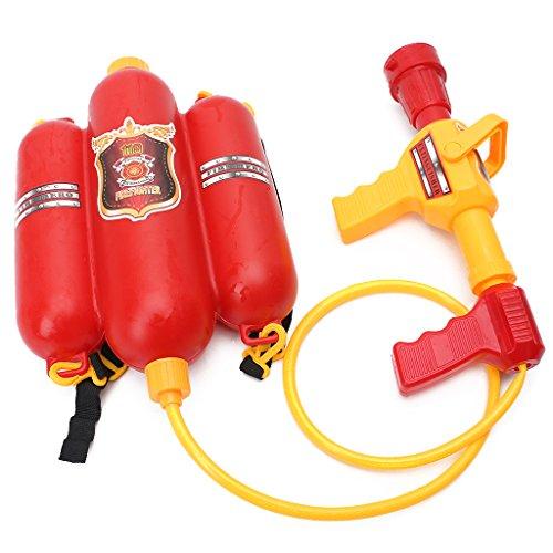 ECMQS brandweerspuit waterpistool met tank rugzak, rood