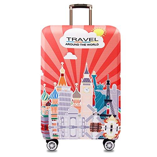 YianBestja Elástico Funda Protectora de Maleta Luggage Protective Cover, Viaje Equipaje Cubierta Carretilla Protectora Cubierta (Landmark, XL (Equipaje de 29-32 Pulgadas))