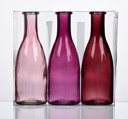 Unbekannt Sandra Rich. Glas VASE Bottle groß. 3 kleine Flaschen ca 18,5 x 6,5 cm. Fuchsia - ROSA. 1165-18-11