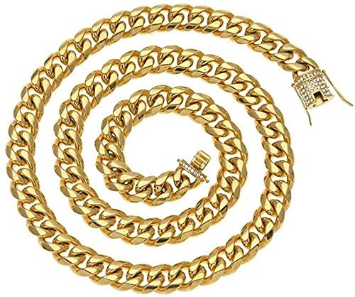 Yiffshunl Collar Moda 10mm Collar para Hombre Acero Inoxidable Cubano Cierre de Diamantes de imitación Oro Plata Cadena de Hip Hop Collar 76cm-Diamante de imitación Dorado 30 Pulgadas (76cm)