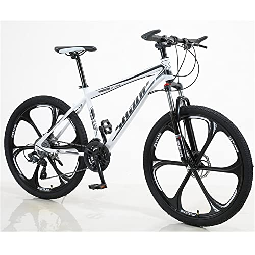 ALUNVA 26inch Bicycle,Mountain Bike,Variable Speed Bicycle,Portable Bicycle,Cross-country Bike,Shock Absorption One Wheel Riding Bicycle-White and black 21 speed