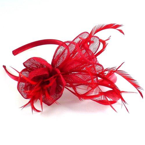 rougecaramel - Serre tête/headband de mariage cérémonies en sisal - rouge