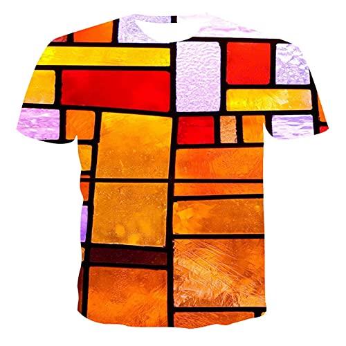 Camiseta de Manga Corta con Cuello Redondo y Manga Corta para Hombre 3DT, Camiseta Casual de Verano, Manga Corta