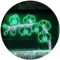 Orchids Flower Shop Dual Color LED看板 ネオンプレート サイン 標識 白色 + 緑色 300 x 210mm st6s32-i3530-wg