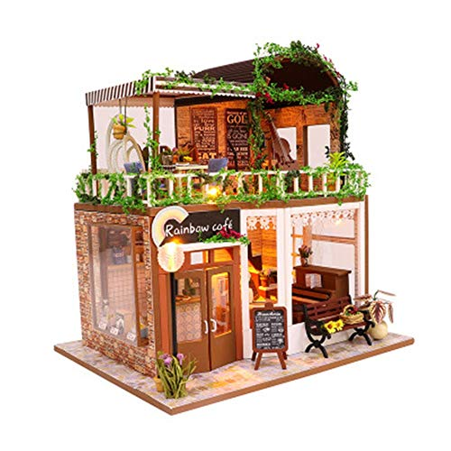 JWIL Toy cabin Kids' Doll House with LED Lights DIY Coffee House Toy Cottage Parent-child Interactive Toys Creative Romantic Birthday Gift For Girls as birthday/Christmas