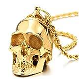 COOLSTEELANDBEYOND Grande Oro Cranio Collana con Pendente da Uomo, Ciondolo Teschio, Acciaio, Catena Grano 75CM