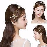 1Pcs Starfish Headband Manual Mermaid Mermaid Clothing Accessories Pearl Bride Wedding Accessories Color Gold