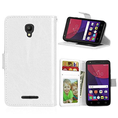 Handy Kasten für Alcatel Pixi First (4.0) OT4024D 4027D,Bookstyle 3 Card Slot PU Leder Hülle Interner Schutz Schutzhülle Handy Taschen-Weiß