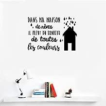 Vinyl Wall Art Inspirational Quotes and Saying Home Decor Decal Sticker French Quote Dans Ma Maison De Rêves Il Pleut Le Bonheur De Toutes Les Couleues in My House of Dreams It Rains Happiness